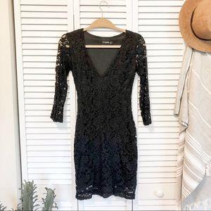 ASOS Petite Black Lace Long Sleeve Bodycon Dress